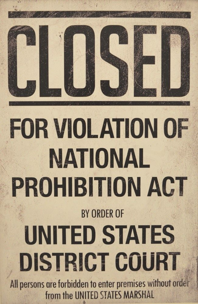 closed for violation of national prohibition act prints
