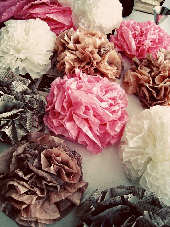paper flowers, I make these a cheap easy idea