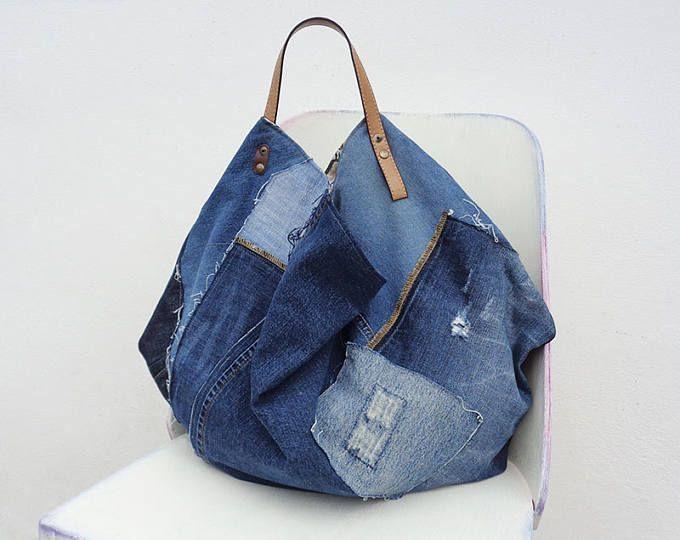 Comprador de bolsa de mezclilla tote gran tamaño bolso grande loco bolso weekender un ciclo hasta los pantalones vaqueros