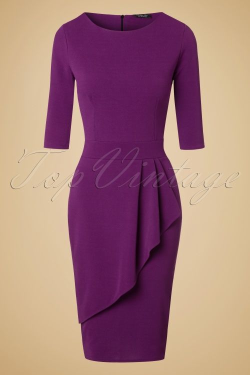 Vintage Chic Barbara Wrap Skirt Pencil Dress in Purple 100 60 20062 20161103 0002w