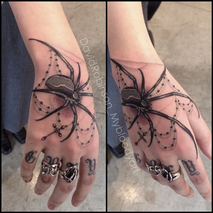 Spider and rosary on hand by David Robinson at Seventh Son Tattoo in San Francisco, CA #spidertattoo #spidertattoos #rosarytattoo #rosarytattoos #handtattoo #handtattoos #seventhsontattoo #7thsontattoo #davidrobinsontattoo #sanfrancisco