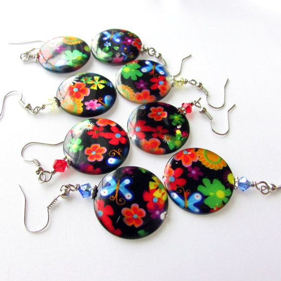 Hippie Flower Earrings Colorful Dangle by EarthlieTreasures, $10.95