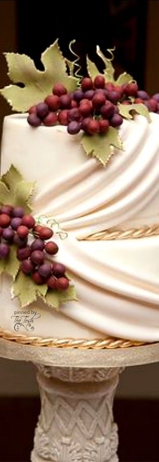Wedding Cake with Clusters of Grapes for a Tuscan/Italian Wedding