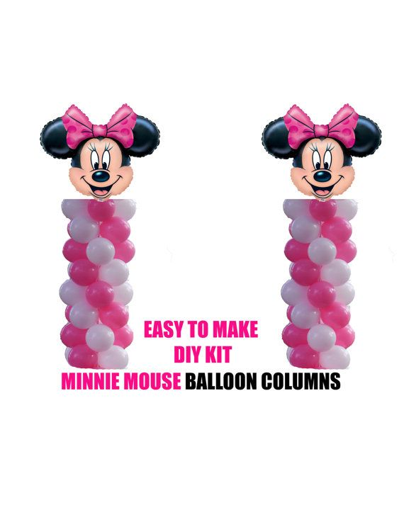 Disney Minnie Mouse Birthday Balloons, Minnie Party Decorations, DIY KIT easy to assemble, Minnie Balloon Column Decorations, Baby Shower