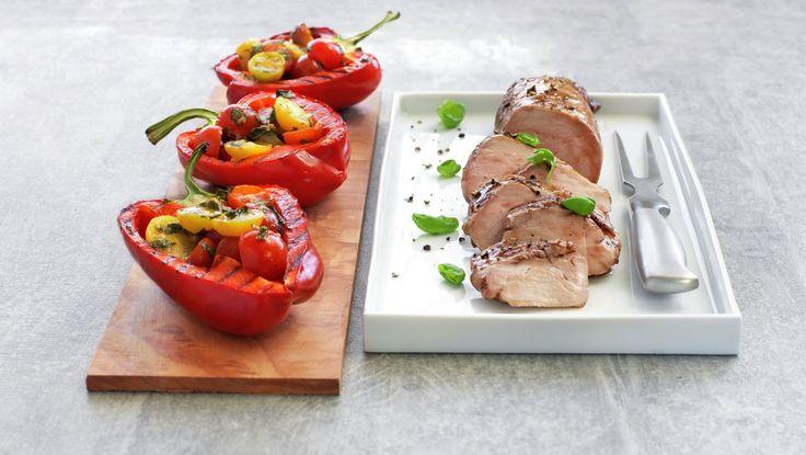 PRØVD - Glasert svinefilet med fylte paprika