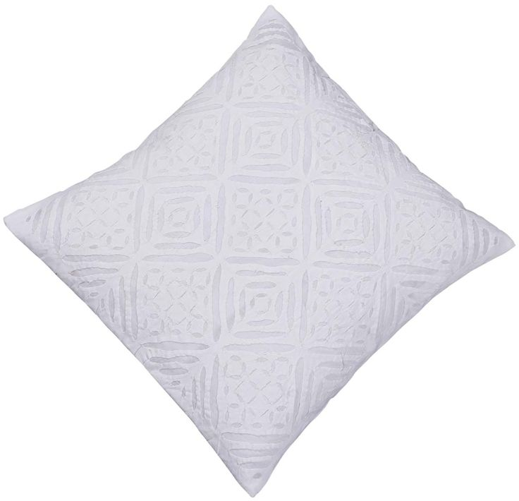 "Bulk Wholesale White Cushion Cover in Pure Cotton – 16x16"" Hand-Stitched Throw Pillow Cover with Cut Work in Moroccan Pattern – Decorative Pillow Case for Couches / Beds / Sofas – Home Décor from India  (Set of 4)"