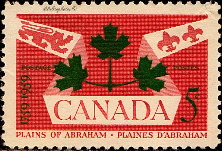 Canada.  British Lion, Fleur-de-Lis and Maple Leaves.  Bicentenary of the Battle of the Plains of Abraham. Scott 388 A182, Issued 1959 Sept. 10, Perf. 12, 5c. /ldb.