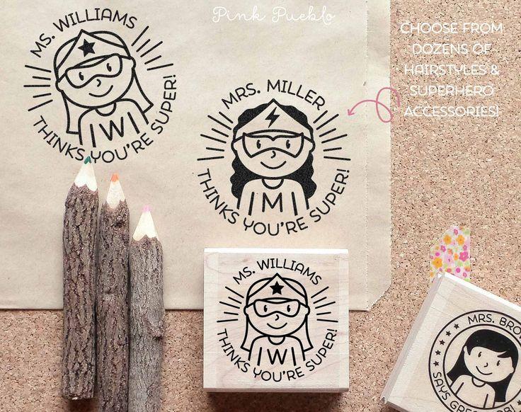 Superhero Teacher Rubber Stamp, Female Teacher Stamp, Personalized Tea – PinkPueblo