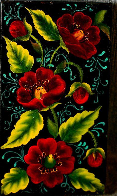 Урало-Сибирская роспись Картонная коробочка