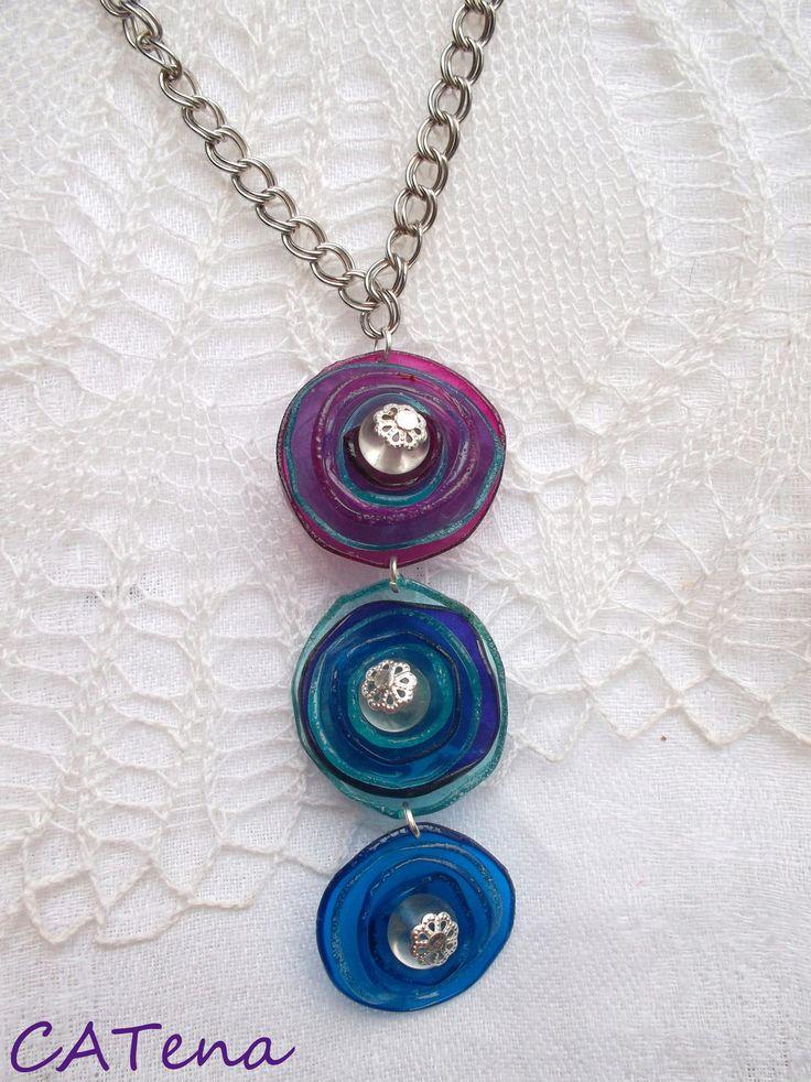 Circles - do modra...recycling plastic bottle jewelry