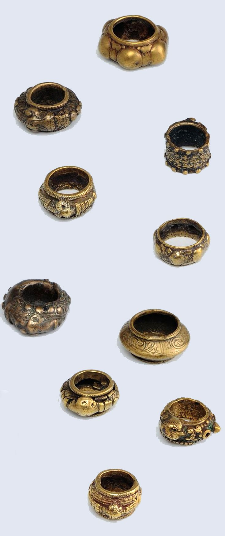 Indonesia ~ Batak Toba | Ten men's rings; bronze | 19th century or earlier. ||| Source; Ethnic Jewellery from Indonesia: Continuity and Evolution. Bruce W Carpenter. Pg 63
