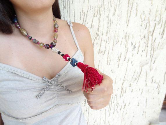 Afghan Fuchsia Tassel Necklace  Handmade Glass Bead Necklace