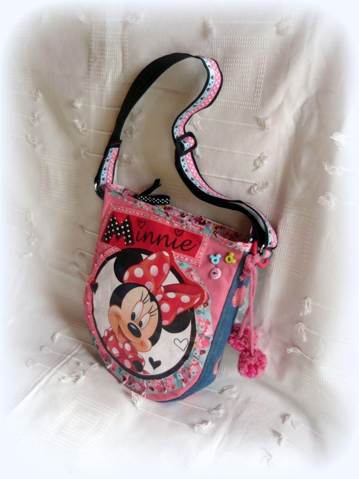 Handmade by Judy Majoros - Minnie denim crossbody bag with pom pom. Recycled bag.