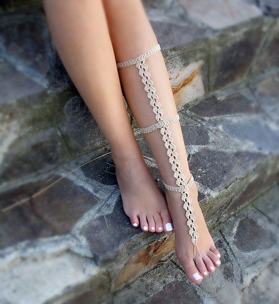 Tan Crochet Barefoot Sandal Crochet leg warmers by Bryleens