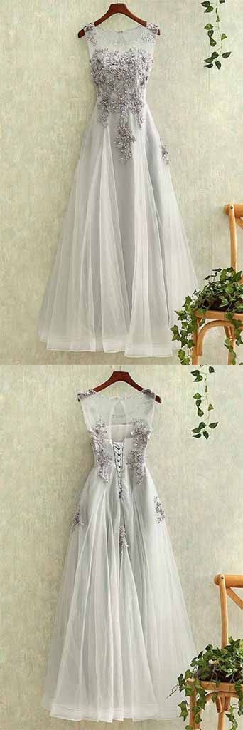 Gray tulle round neck a line lace applique see-through long prom/evening dress