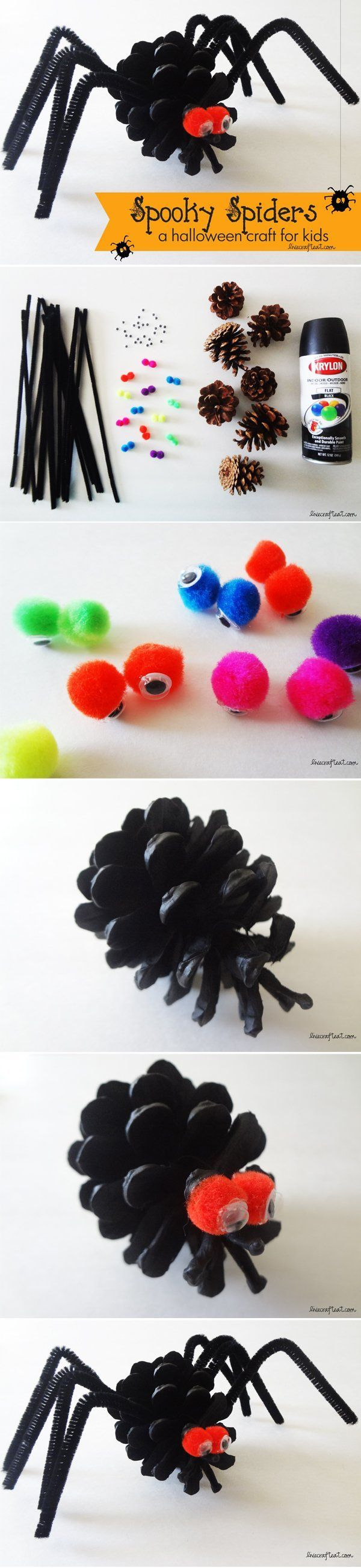 an easy halloween spider craft for kids - uses only a few inexpensive craft supplies that you probably already have on hand. so cute for decorating your house/front door! | www.livecrafteat.com