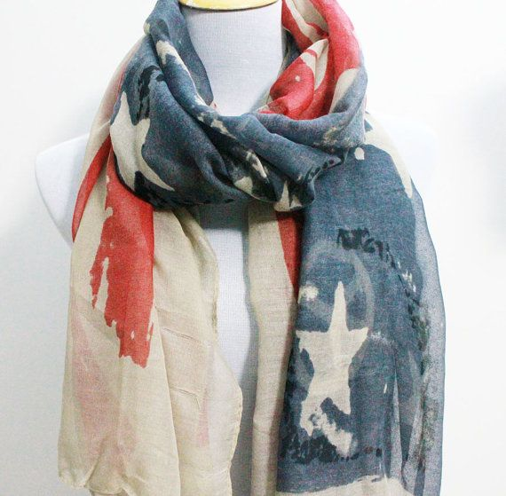 Vintage American Flag Scarf Cute star bangled banner Large scarf Red and Blue star Scarf Flag Beach Sarong