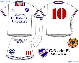 CD Nacional of Uruguay home kit (with white shorts and socks) in the morning.