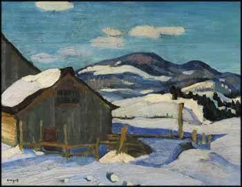 """Snow Scene, Malbaie,"" Edwin Headley Holgate, ca. 1926, oil on board, 8.5 x 10.7"", private collection."