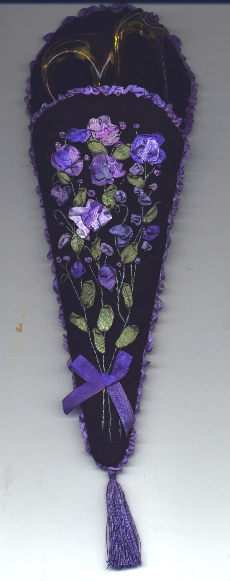 Large  scissor case embellished with silk ribbon embroidery