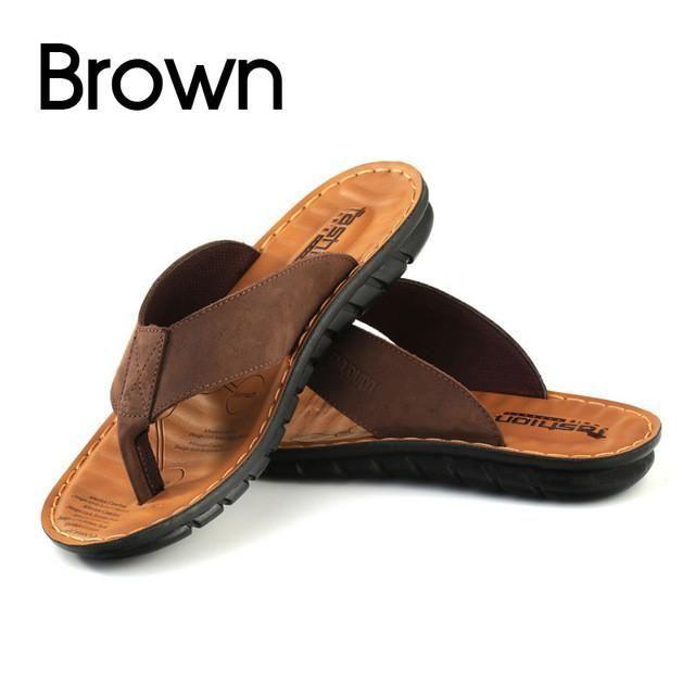 BIMUDUIYU Men Flip Flops Casual Genuine Leather Sandals Summer Fashion