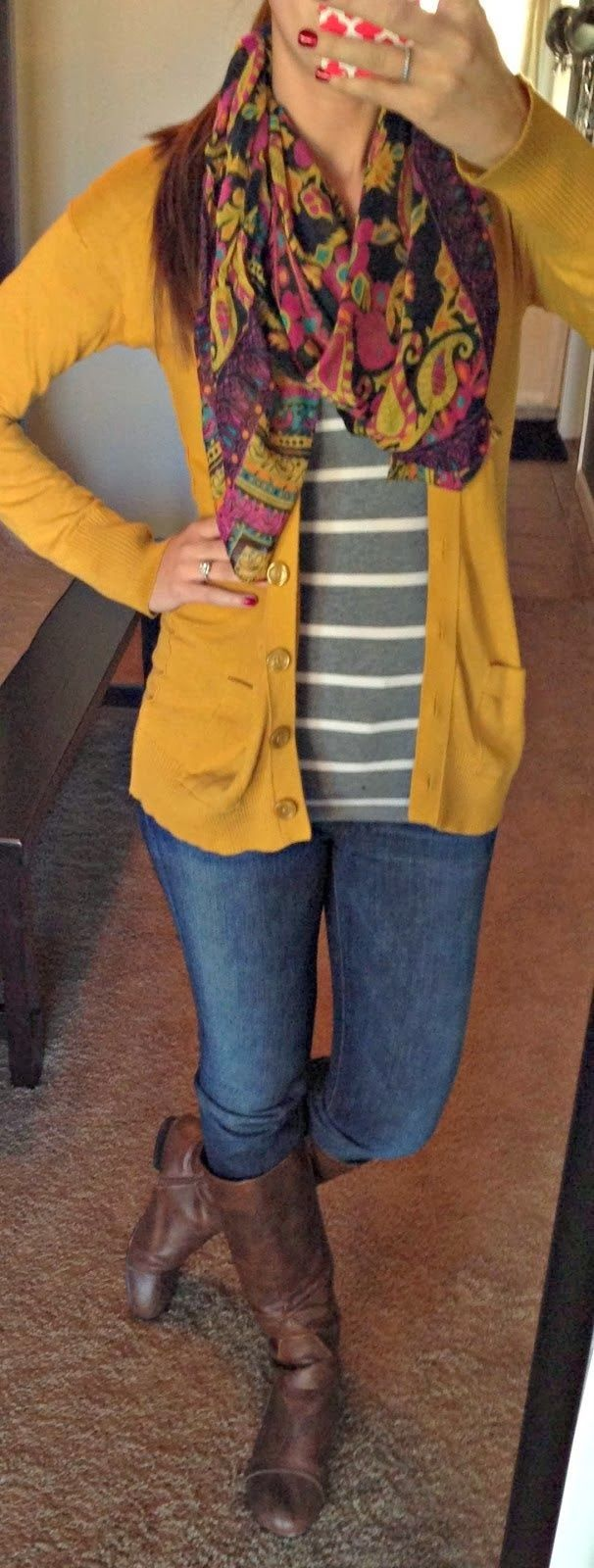 Mustard Yellow Cardigan With Mixed Print  I love simple!