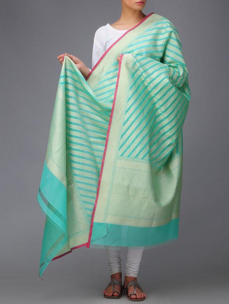 Buy Mint Blue Golden Banarasi Georgette Dupatta by Ekaya Zari Accessories Dupattas Online at Jaypore.com