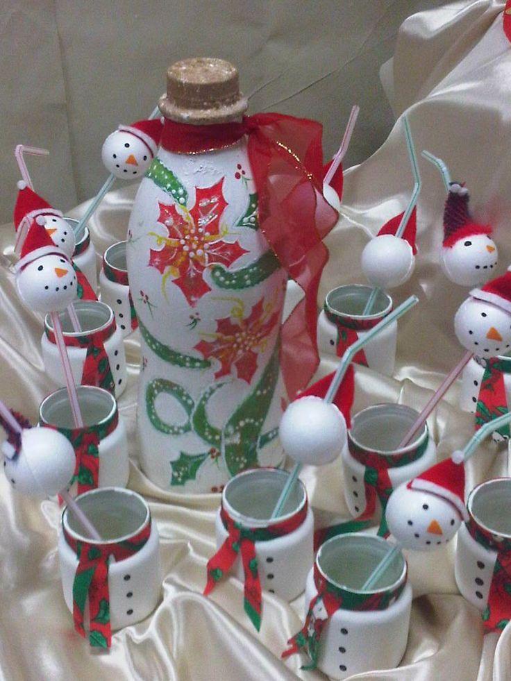 Botellas de yogurt y frascos de compotas christmas recycling navidad reciclando pinterest - Ideas decoracion navidad ...