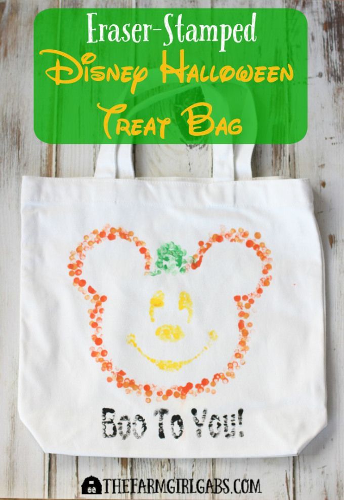 Send your trick or treater from house to house this Halloween with the fun Eraser-Stamped Disney Halloween Treat Bag. This fun Disney craft is the perfect way to show your Disney Side.