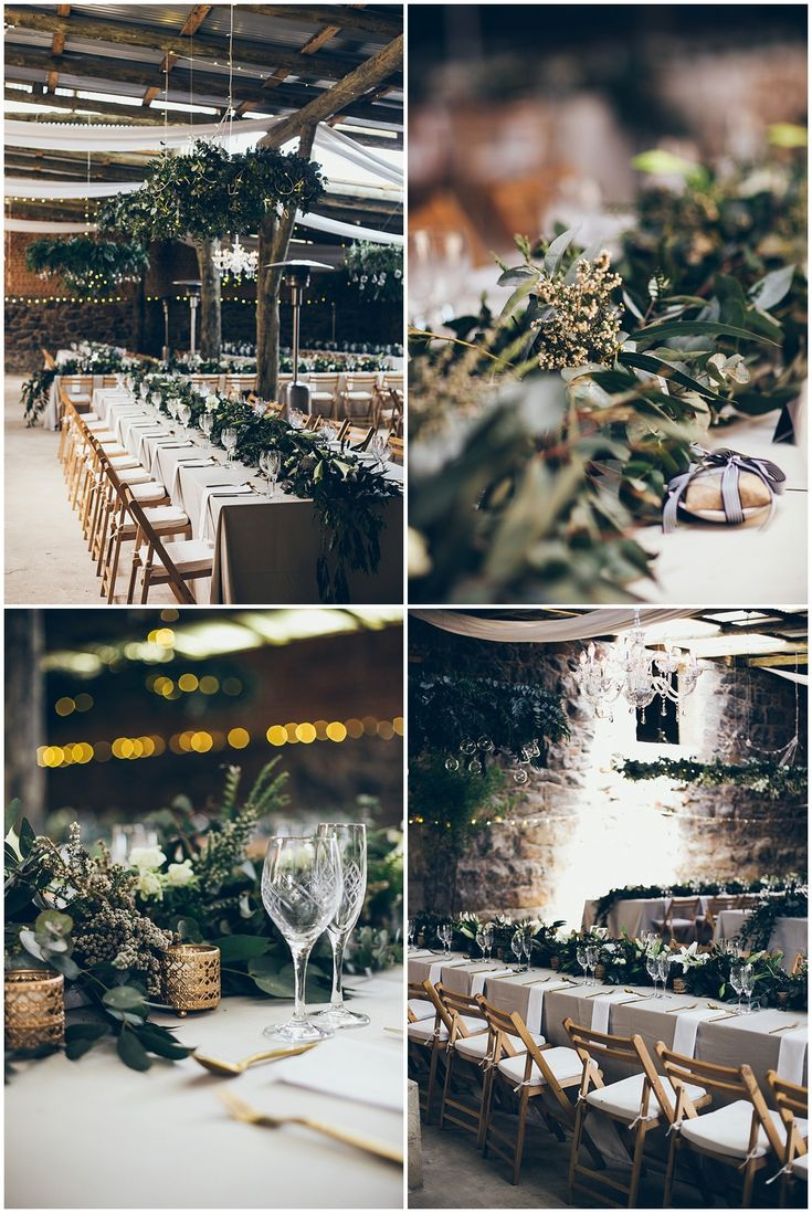 www.vanillaphotography.co.za | Durban wedding photographer, South African wedding photographer, Reichenau Mission, Underberg, Natal Midlands, boho decor, greenery, gold cutlery, lilies, simple, fairy lights, cafe lights, suspended greenery, minimal draping.