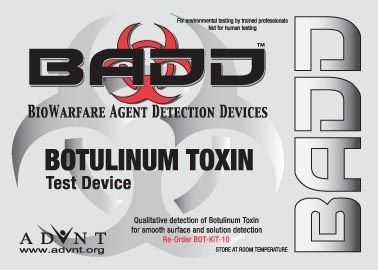 BADD Botulinum Toxin Biowarfare Detection Test Kit- 10 Kits/Bx Just @ $257.00  Botulism Tests Kit - Biowarfare Detection Device  @ advntbiotechnologies.com  #Biowarfare #Bioweapons #ThreatDetection #Ricin #Plague #Tularemia #BotulismTest