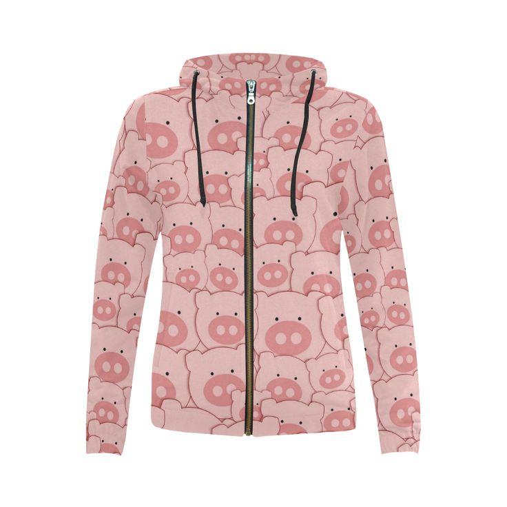 Pink Piggy Pigs All Over Print Full Zip Hoodie for Women (Model H14)