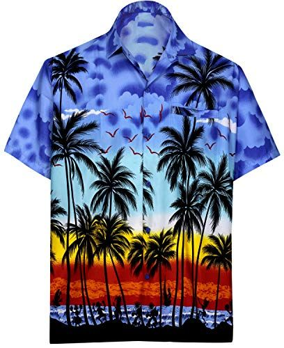 7482fc1c5 Men's Regular Fit Camp Palm tree Short Sleeves Button Down Hawaiian Shirts  aloha
