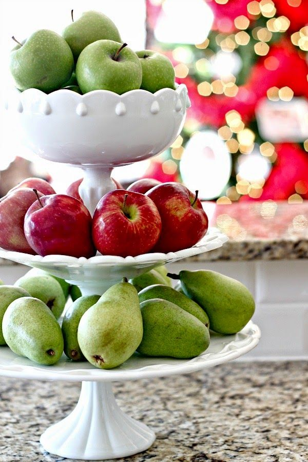 Dimples and Tangles: Christmas Home Tour || tiered milk glass fruit stand