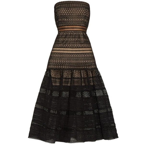Self-portrait Sculpted strapless lace dress (2.830 HRK) ❤ liked on Polyvore featuring dresses, black, black sheer dress, lace midi dress, see through dress, black lace dress and lace cocktail dress