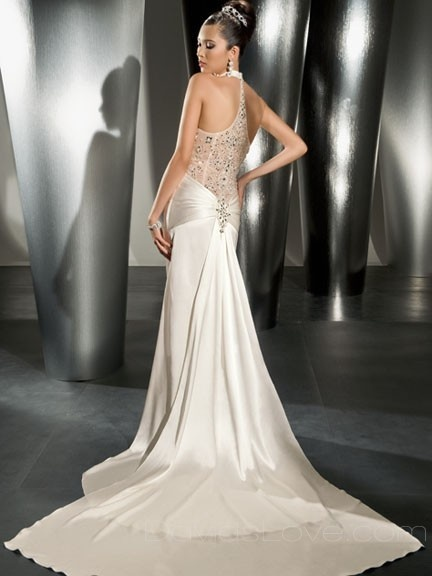 Mermaid V-neck Long Satin Wedding Dress
