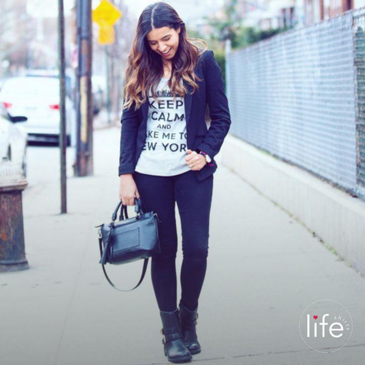 """Look Life """"Keep Calm and take me to New York""""! Camiseta personalizada em parceria com o blog NY and About, da fotógrafa e blogueira Martha Sachser. T-shirt exclusiva!"""