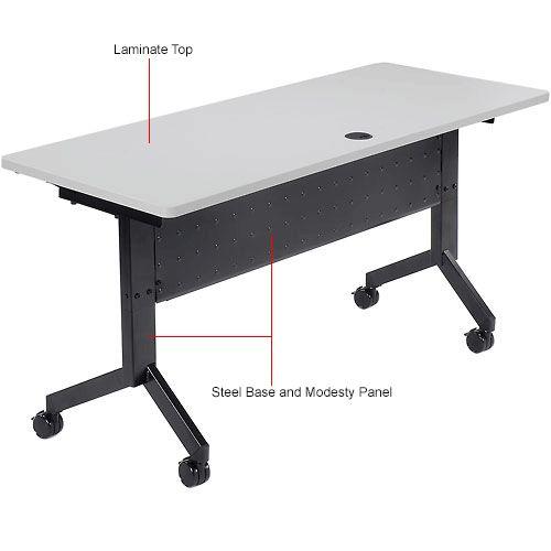 "Tables | Training | Paramount® - Training Table, Flip-Top 60""L Gray Finish Top | 695219 - GlobalIndustrial.com"