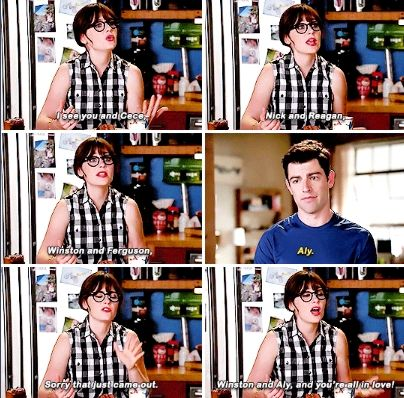 """""""You're all in love!"""" - Jess and Schmidt #NewGirl"""