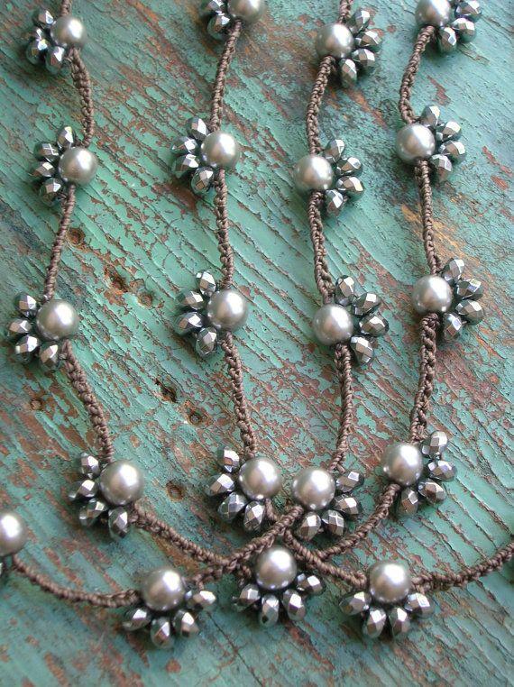 Longo boho colar de crochê - Starlet - boho jóias de prata camadas colar, colar de pérolas, colar de envoltório, jóias crochet, boêmio