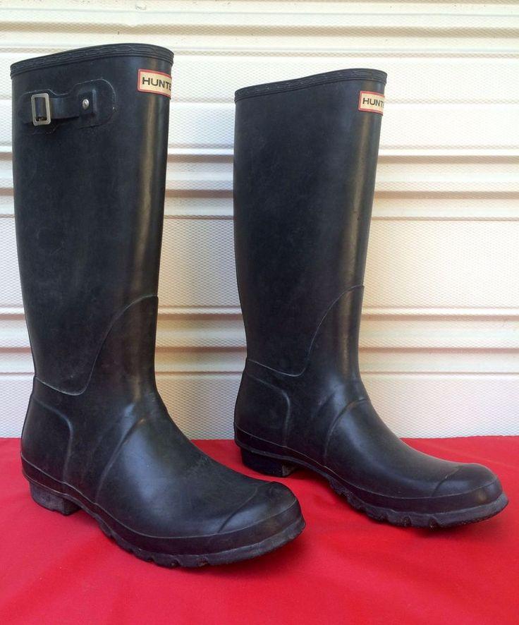 Vintage HUNTER Black Tall Rubber Rain Boots Waterproof Wellies Mens US 12 UK 11 #Hunter #Rainboots