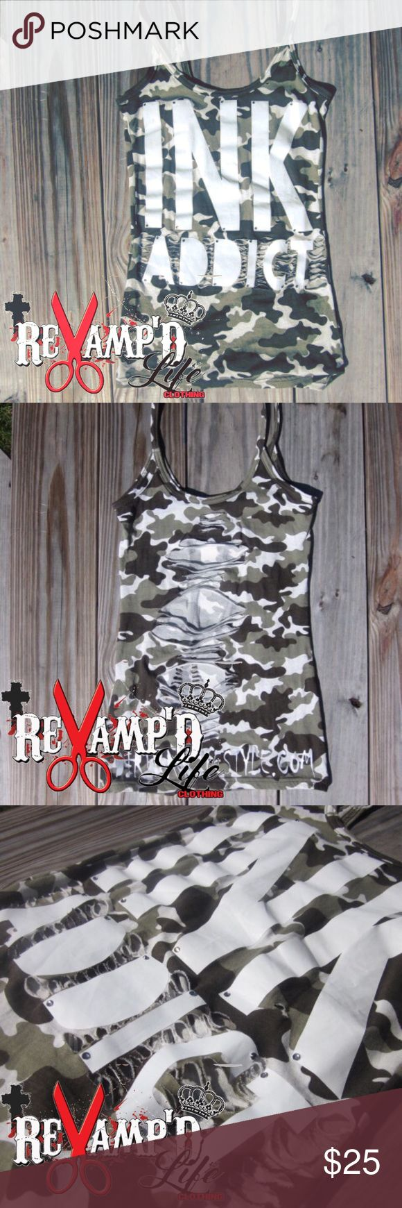Custom bling cut up INK ADDICT CAMO tank top SMALL •• 🛍 Ask for bundles to save $$ ••• always accepting offers! 🛍 ••  • this cute Camouflage spaghetti strap tank is cut up, and belonged out. (pictures do no justice for either) it is somewhat stretchy and looks great when worn! The back is completely cut up.   • size: small   #inkaddict #camouflage #tanktop #stretchy #cute #handmade #tattedup #customclothing #bling #oneofakind #revamped #reconstructed #ripped #reworked #restyled  #redone…