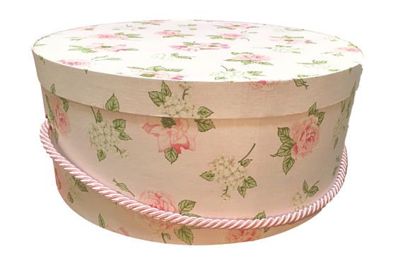 Large Hat Box In Light Pink Floral Ready To Ship Round Box French Cottage Fabric Covered Box Box W Lid Keepsake Bo Fabric Covered Boxes Hat Box Hat Boxes