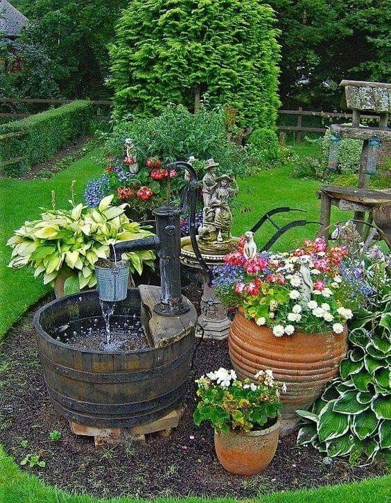 """Country Garden Container Gardens """"How To"""" Stylists Guide to Vintage & Antique Home Decor Project Pieces 