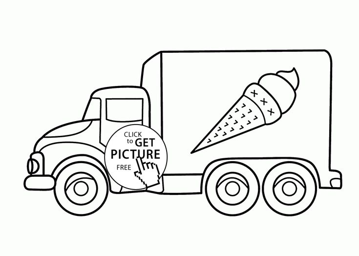 Ice-cream Truck coloring page for kids, transportation