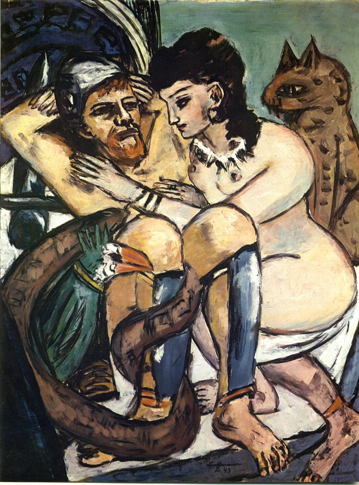 Odysseus and Calypso - Max Beckmann (1943)  Art Experience NYC  www.artexperiencenyc.com/social_login/?utm_source=pinterest_medium=pins_content=pinterest_pins_campaign=pinterest_initial