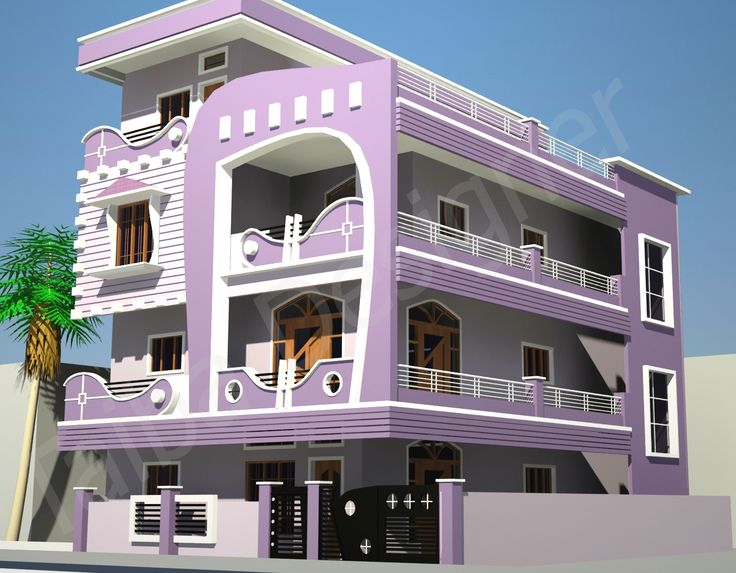 Lovely Exterior Home Design With Purple Exterior Wall And Fascinating Balconies Under Flat Roof Awesome Concrete Wall And Flat Roof In Modern Exterior Home Design
