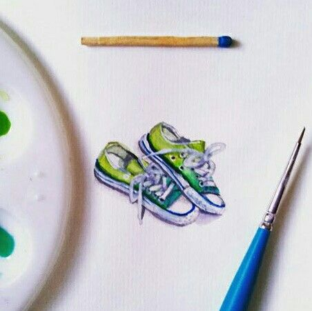 Converse Rubber Shoes Miniature Watercolor by Lalaine Garcia #lalainegarcia #miniaturewatercolor