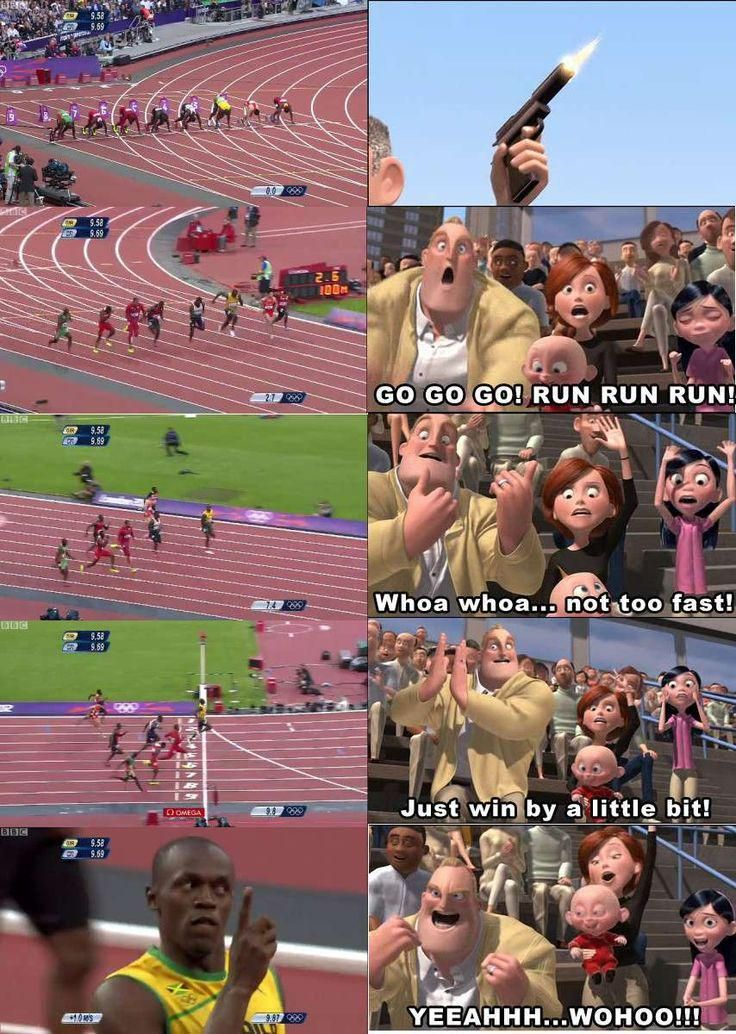 Watching Usain Bolt. #funny #lol Please RePin!
