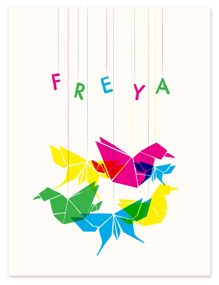Retro personalised prints for kids. Great gift ideas to inspire a love of birds.
